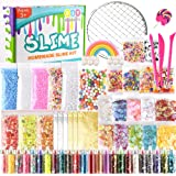 KUUQA 61 Packs Slime Making Supplies Kit,Including Fishbowl BeadsSugar Paper Grid Googly Eyes Shell Slices Confetti Slime Foam Beads Imitation Gold Leaf for Slime Making DIY Craft