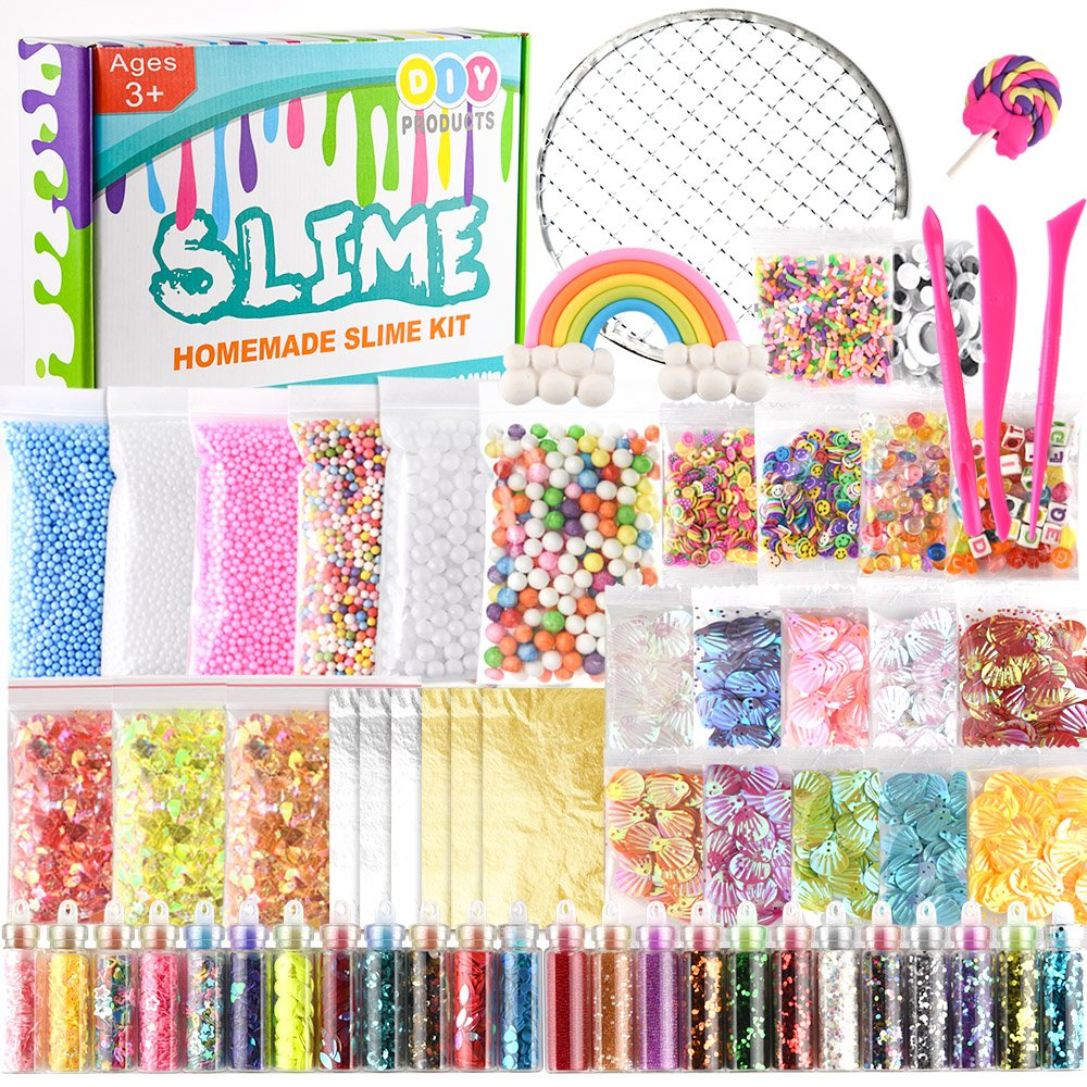 KUUQA 61 Packs Slime Supplies Kit,Including Fishbowl Beads,Sugar Paper, Grid, Googly Eyes, Shell, Slices, Confetti, Slime Foam Beads, Imitation Gold Leaf (Contain No Slime) KQ545