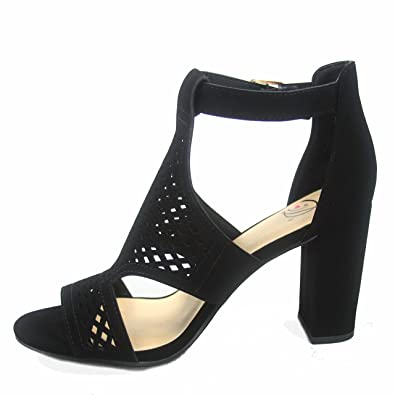 94ad6190b662 Delicious Inflow-s Women s Fashion Laser Cut Out Open Toe Buckle Chunky  Heels Sandal Shoes