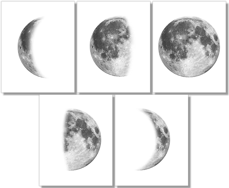 Moon Phases Art Prints (Set of 5) - Bedroom Wall Decor - 8x10 - Unframed