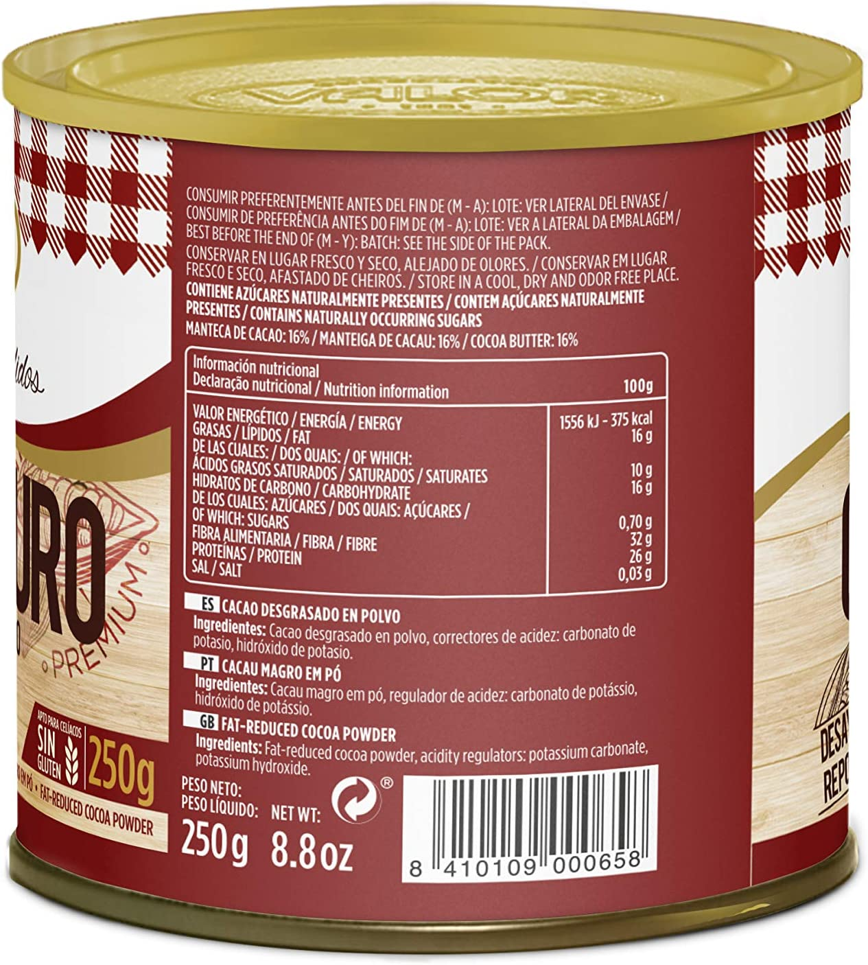 Chocolates Valor Cacao Puro en Polvo, Tamaño Ênico, 250g