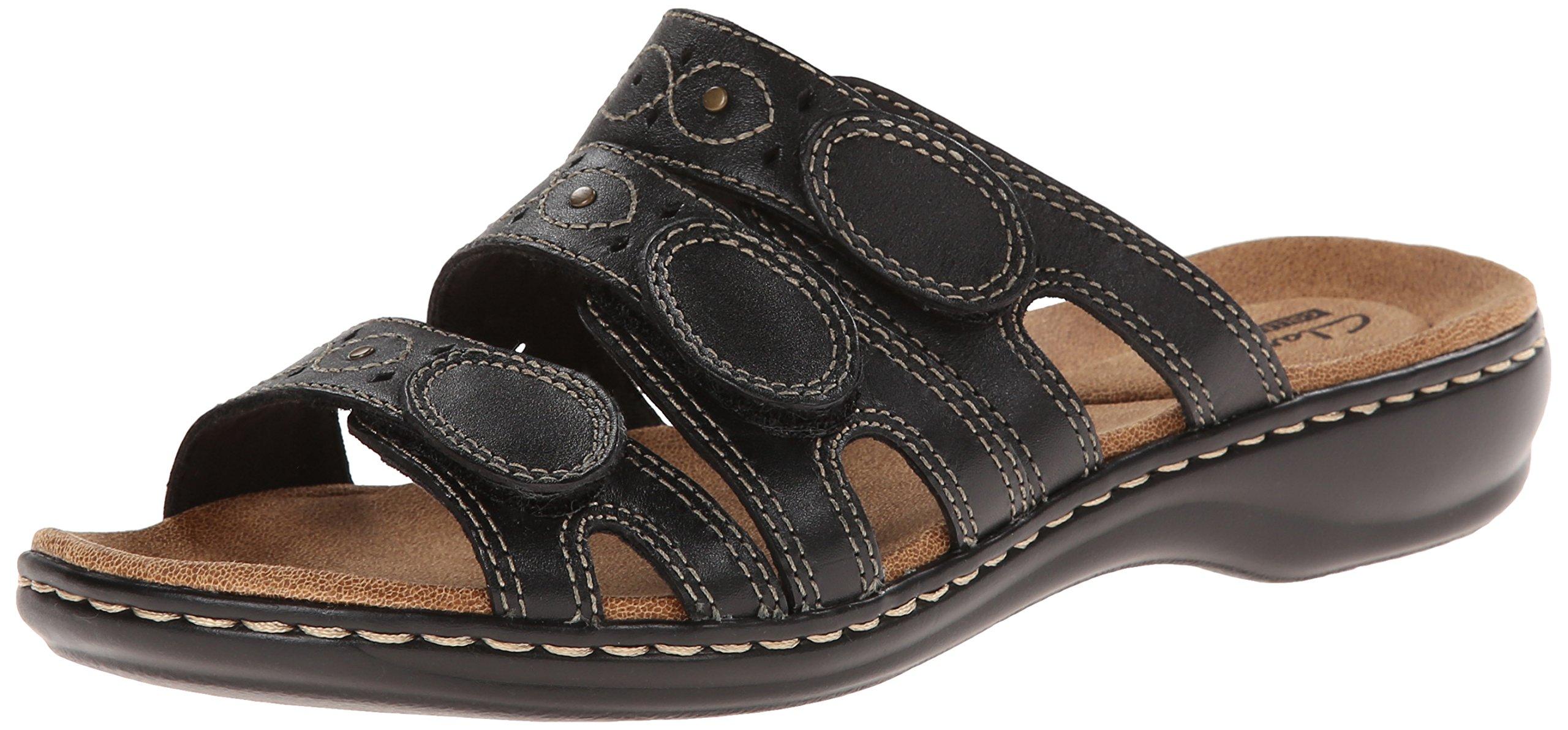 CLARKS Women's Leisa Cacti Slide Sandal, Black Leather, 8 M US by CLARKS