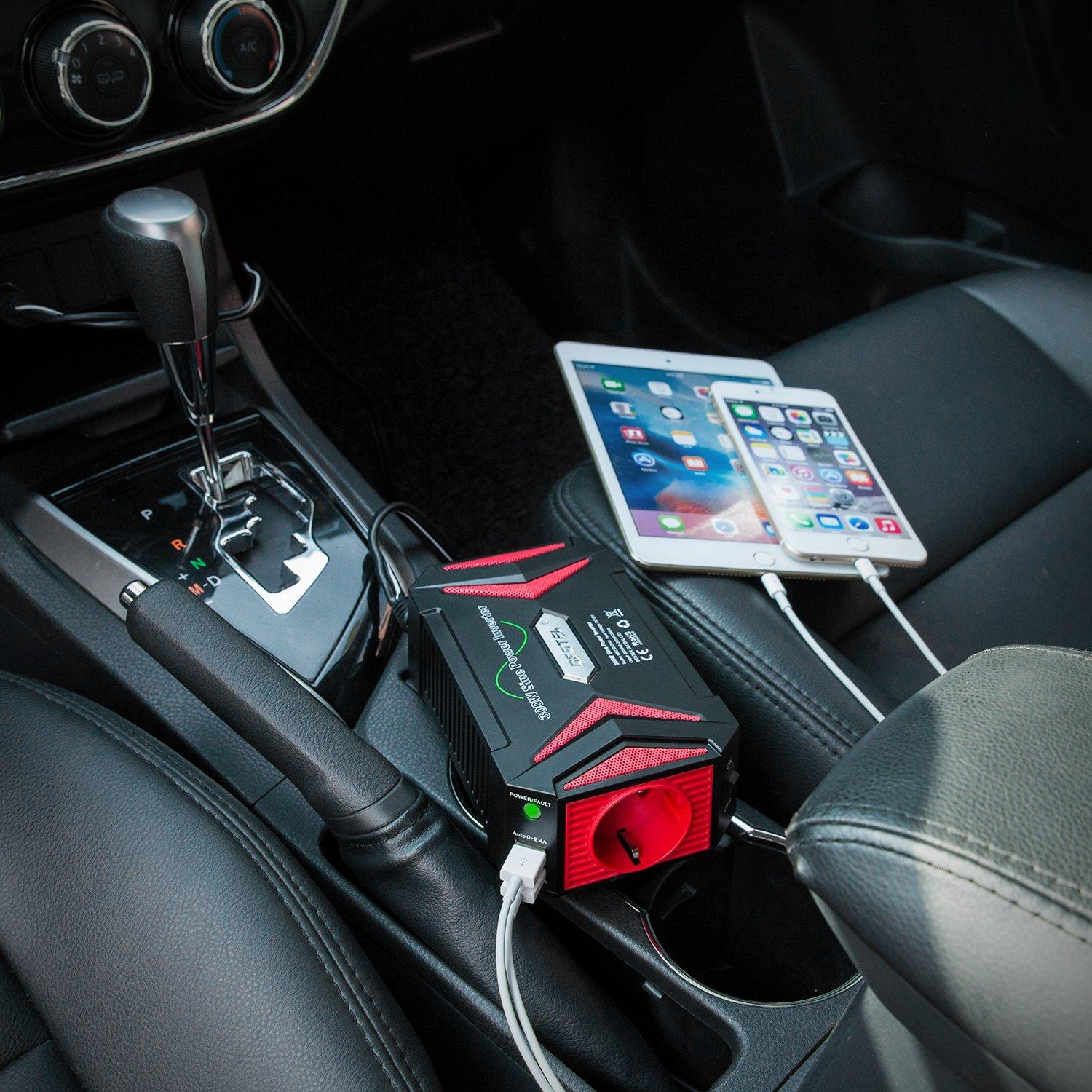 Kfz Zigarettenanz/ünder Stecker,Schwarz Spannungswandler 12v 230v 300W Wechselrichter//BESTEK Stromwandler 12 auf 230 Inverter//mit T/üv Zertifiziert und 2 USB Anschl/üsse inkl