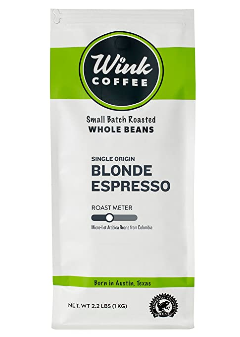 Wink Coffee Blonde Espresso, Whole Bean Coffee, 100% Arabica, Large 2.2 Pound Bag, Colombian Single Origin, Smooth, Light, and Complex, Sustainable Sourcing