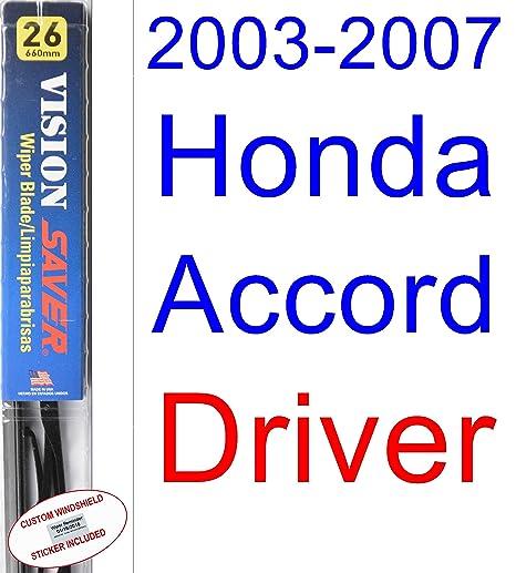 Amazon.com: 2003-2007 Honda Accord Wiper Blade (Driver) (Saver Automotive Products-Vision Saver) (2004,2005,2006): Automotive