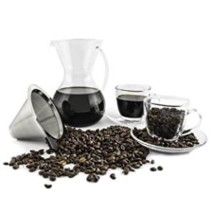28 Ounce Pour Over Coffee Dripper | Cold Hand Drip Pourover Brewer and Maker Carafe with Cups and Saucers | Reusable Permanent Stainless Steel Paperless Cone Filter | BPA-Free Durable