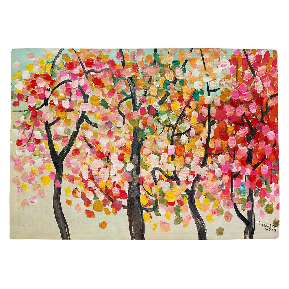 DIANOCHEキッチンPlaceマットby Artist Lam Fuk Tim – カラフルな木V Set of 4 Placemats PM-LamFukTimColorfulTreesV2 Set of 4 Placemats  B01N8OUPFR