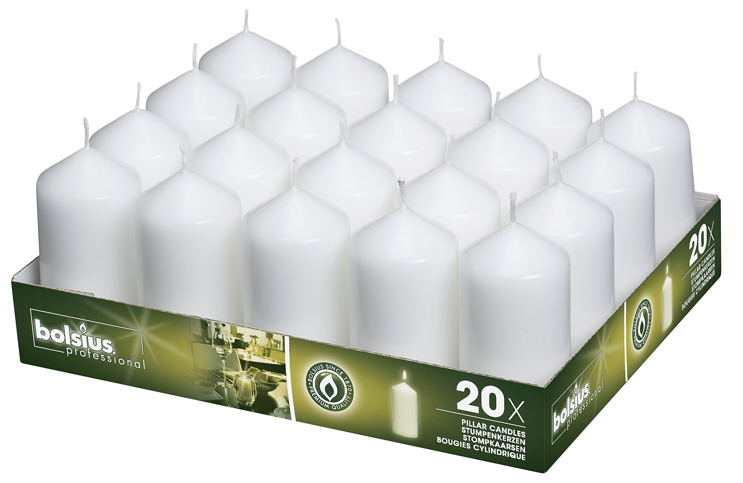BOLSIUS Tray of 20 White Pillar Candles - 18 Hours Burning Time Candle Set - 2-inch x 4-inch Dripless Candle - Perfect for Wedding Candles, Parties and Special Occasions by BOLSIUS