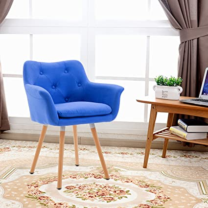 Living Room Chair, Mid Century Modern Retro Leisure Fabric Accent Chair  with Buttons and Solid Bentwood Legs, Blue
