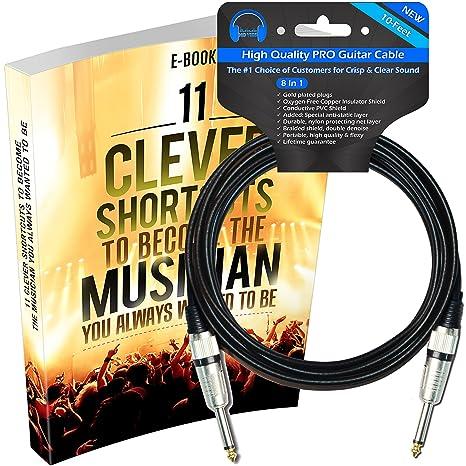 HD Vibs 10 pies – Cable de amplificador para guitarra eléctrica con eBook