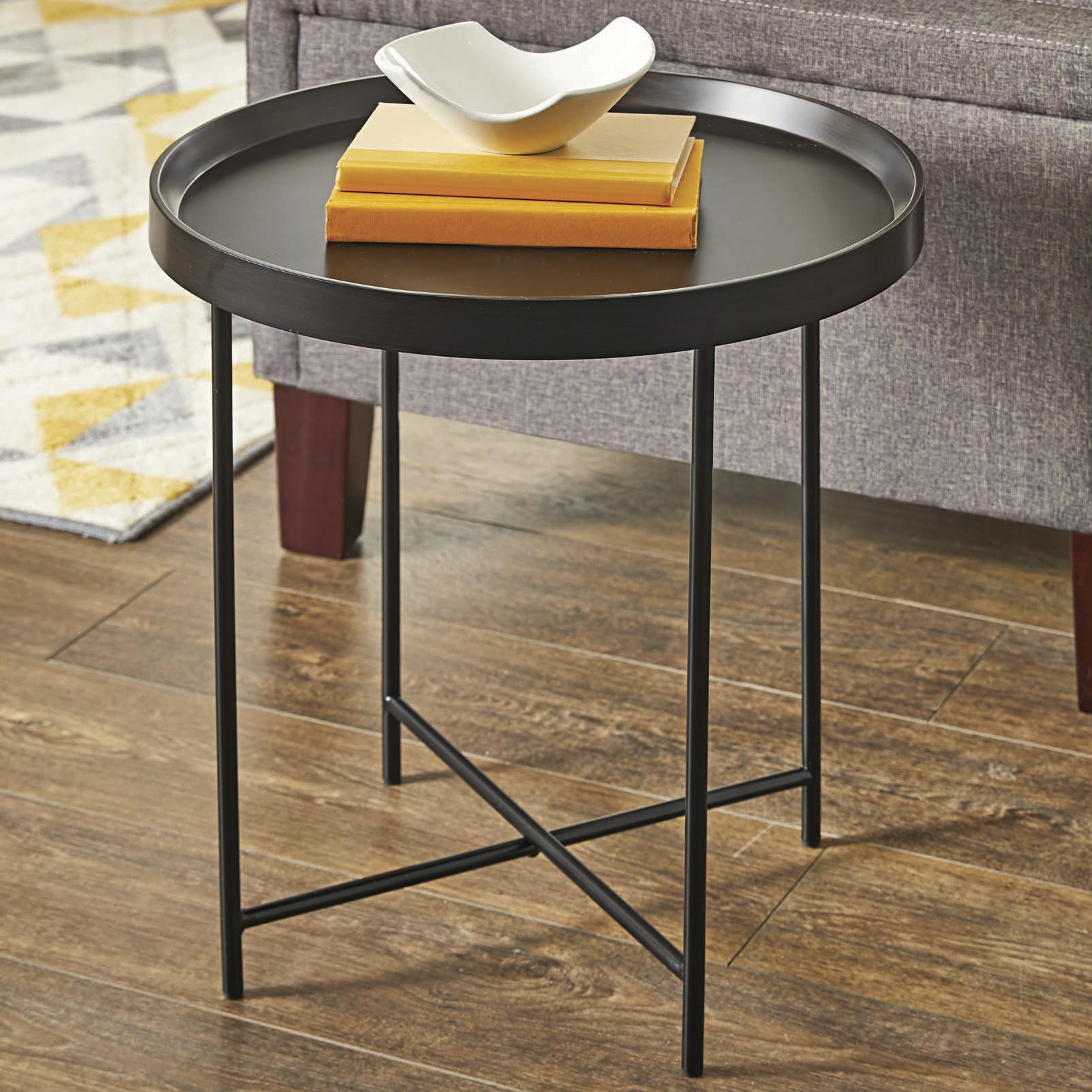 Better Homes and Gardens Montclair Round Accent Table, Black Finish