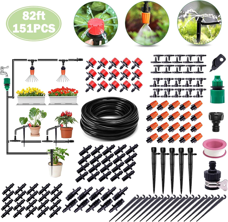 Flantor Garden Irrigation Kit,82ft 1//4 Drip Irrigation Kit Garden Irrigation System with Adjustable Nozzle Dripper Automatic Irrigation Equipment Set Saving Water for Garden,Greenhouse,Lawn