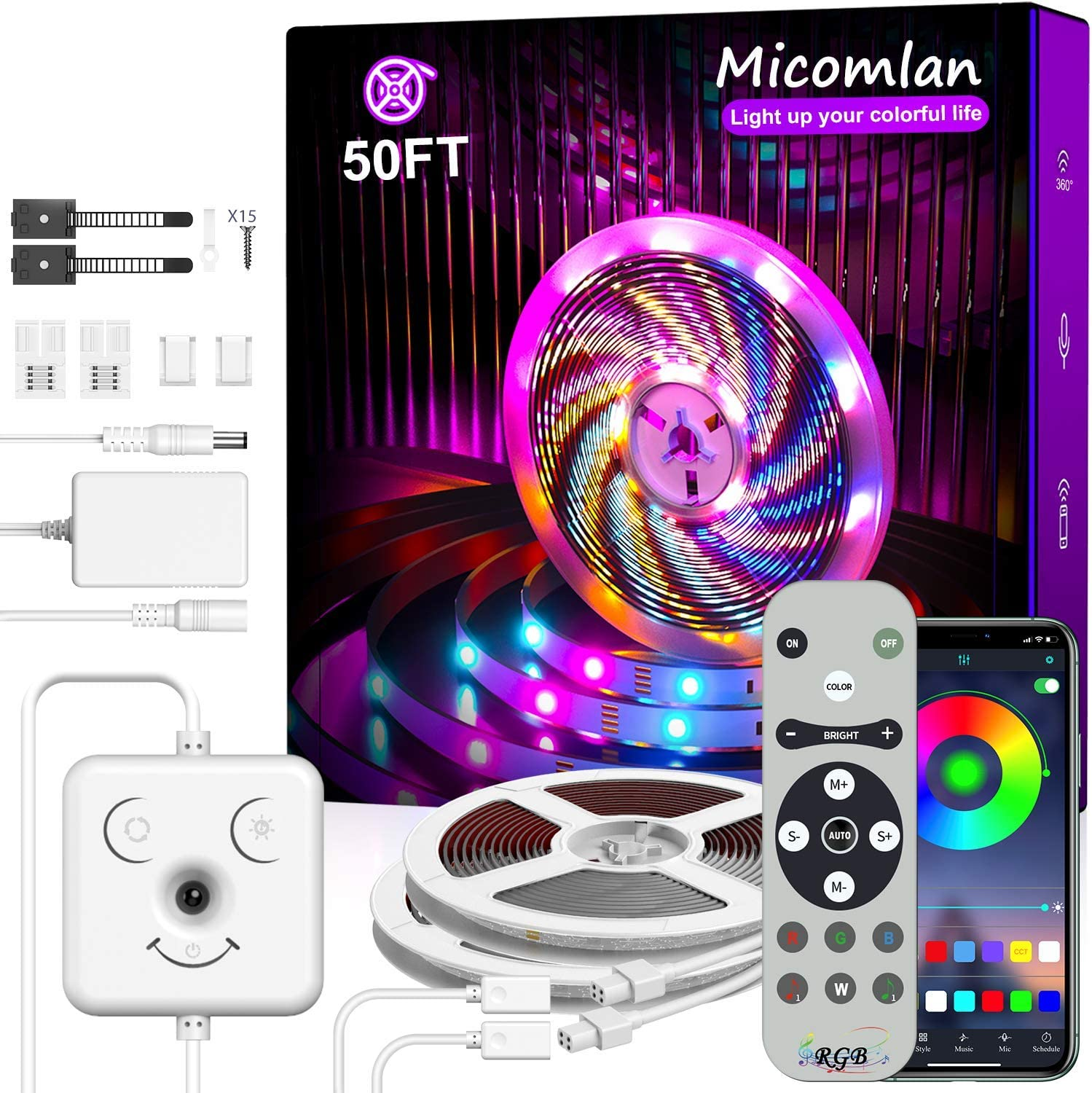 "Micomlan Led Strip Lights 50ft/15M, Music Sync Color Changing RGB LED Lights with Remote,""Smile Face""Controller and Bluetooth APP Controlled Strip Lights for Bedroom Home Decoration"