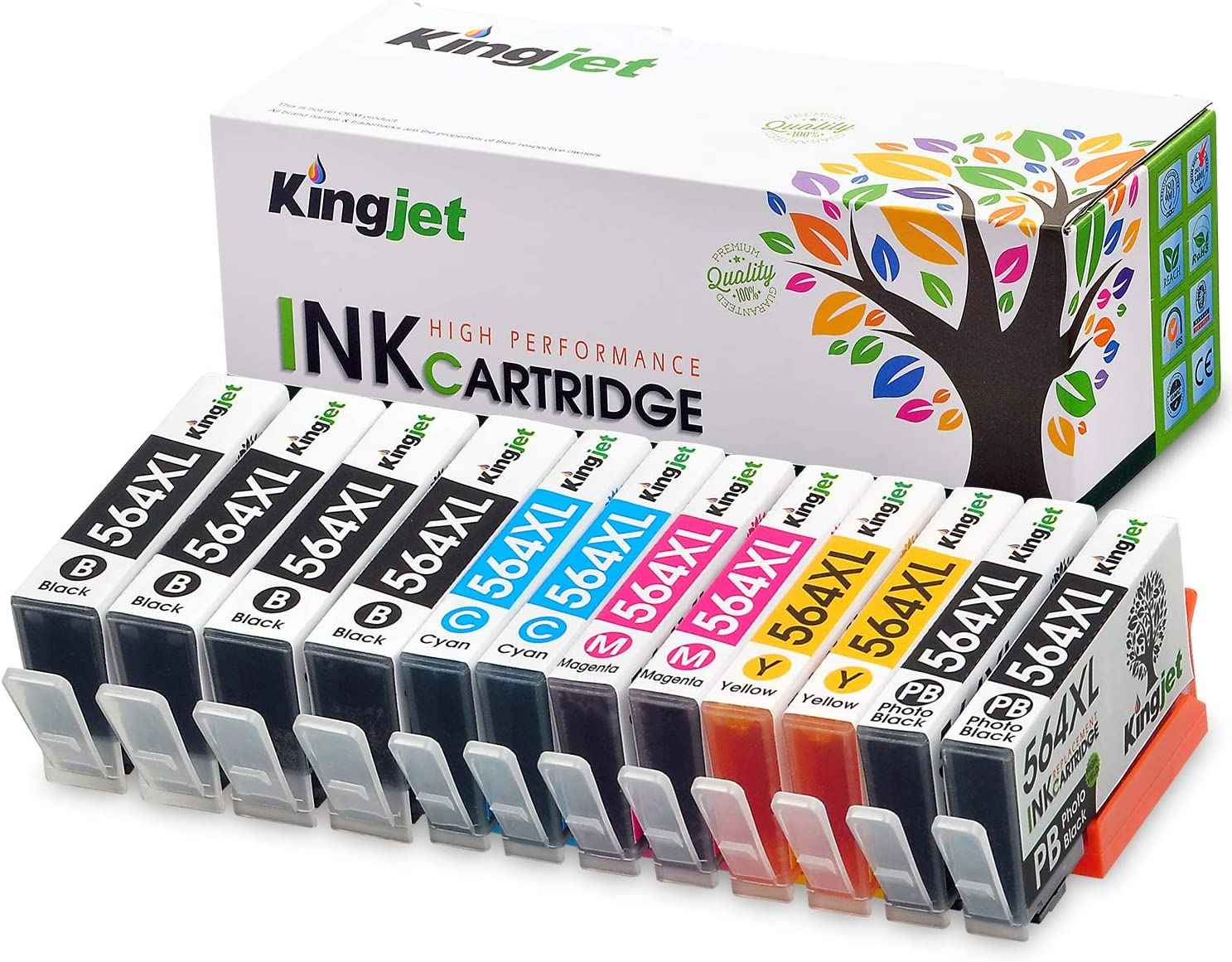 Kingjet Compatible Replacements for 564XL Ink Cartridge 5 Color Work for Photosmart 7510 7515 7520 7525 B8550 C6380 D5460 D7560 C309a (2 Set + 2 Large Black)