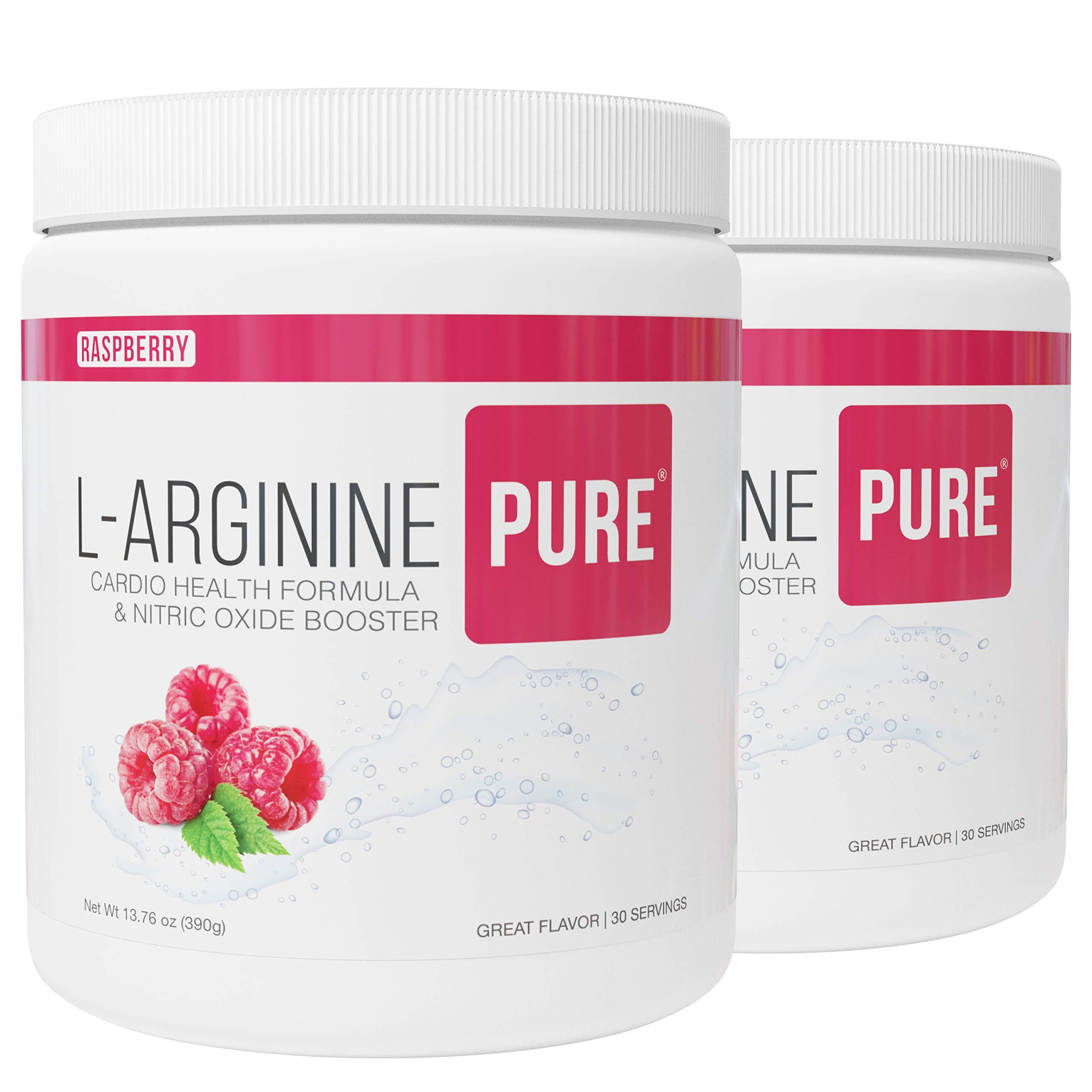 L-Arginine Pure ® | Best Tasting L-arginine Drink Mix Formula for Blood Pressure, Cholesterol, Heart Health, and More Energy (13.7 oz, 390g) (Raspberry, 2 Bottles)