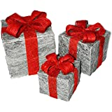 Set of 3 Decorative Pre-Lit LED Christmas Gift Boxes Festive Xmas Decoration (Silver with Red Bow)
