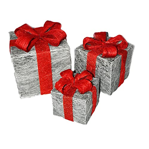 set of 3 decorative pre lit led christmas gift boxes festive xmas decoration silver - Red And Silver Christmas Decorations