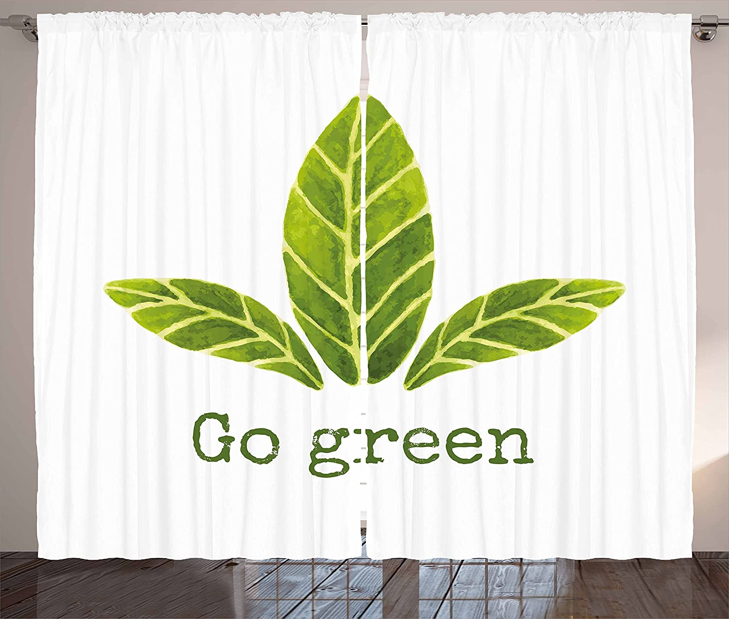Amazon.com: Ambesonne Sage Kitchen Curtains, Ecological Concept Hand  Painted Style Watercolor Leaves with Go Green Inspirational, Window Drapes  2 Panel Set ...