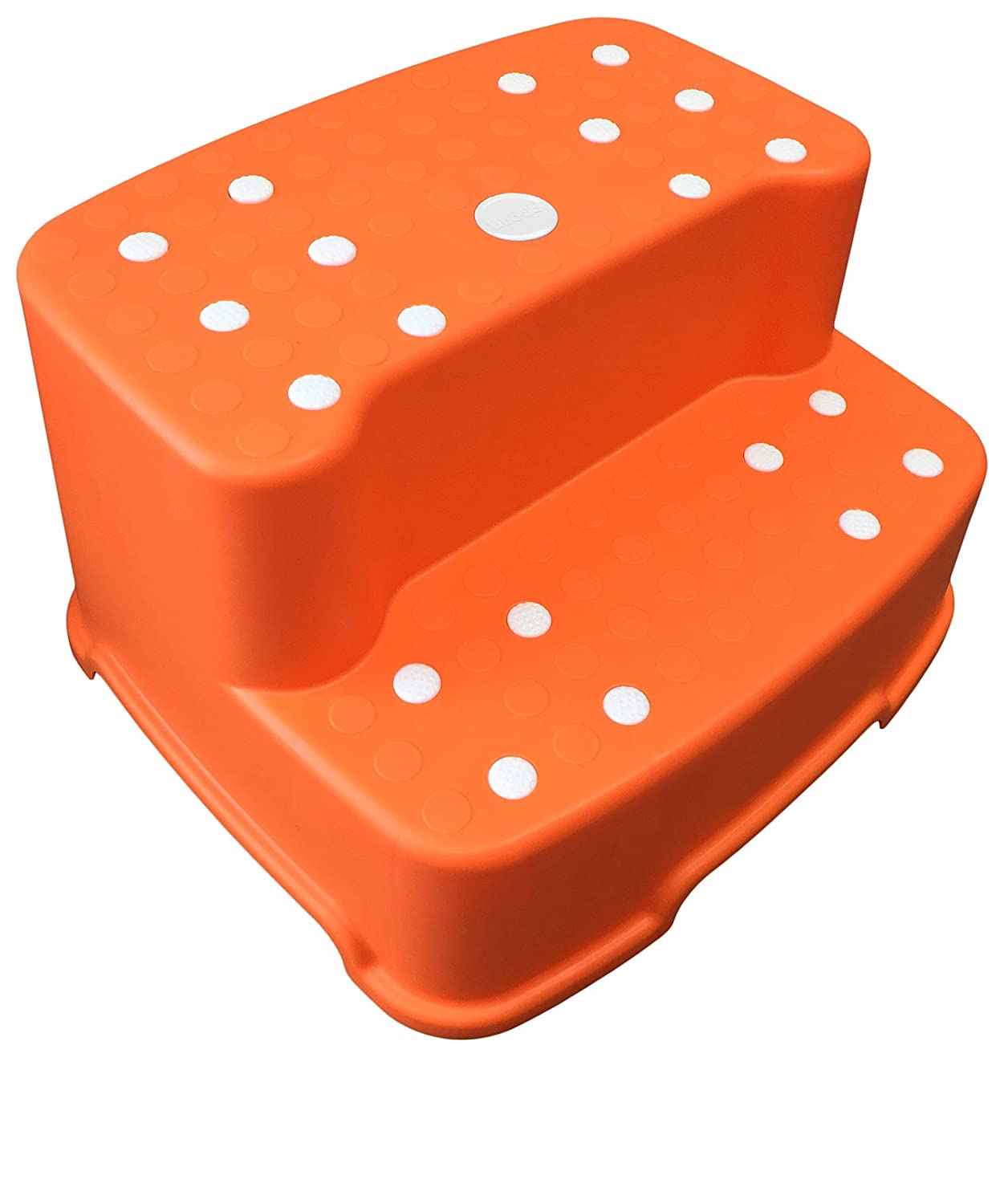 Tenby Living Extra-Wide, Extra-Tall Jumbo Step Stool with Removable Non-Slip Caps and Rubber Grips, Orange TBL-SS-O1