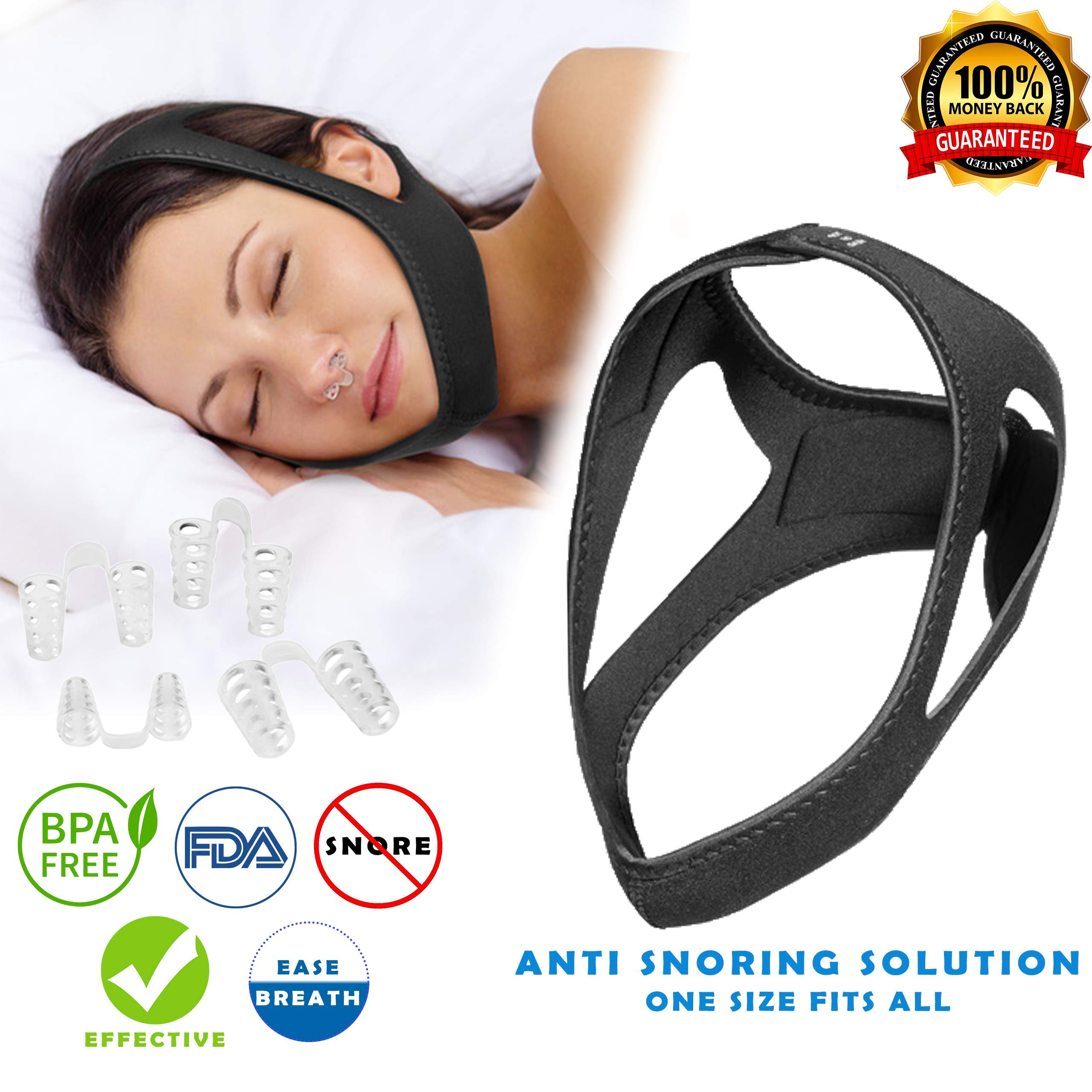 Anti Snoring Chin Strap & Nose Vents - Most Effective Anti Snoring Solution and Anti Snoring Device, Sleep Aid and Stop Snore for Men and Women, Highest Quality