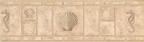 Wallpaper Border Faux Bricks With Seahorse Seashell Beige 7