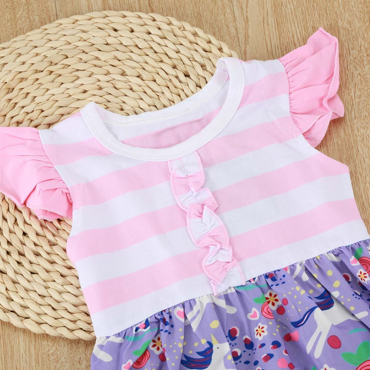 2Pcs Toddler Girls Sleeveless Pony Print Tops Cropped Pants Ruffle Outfits Set
