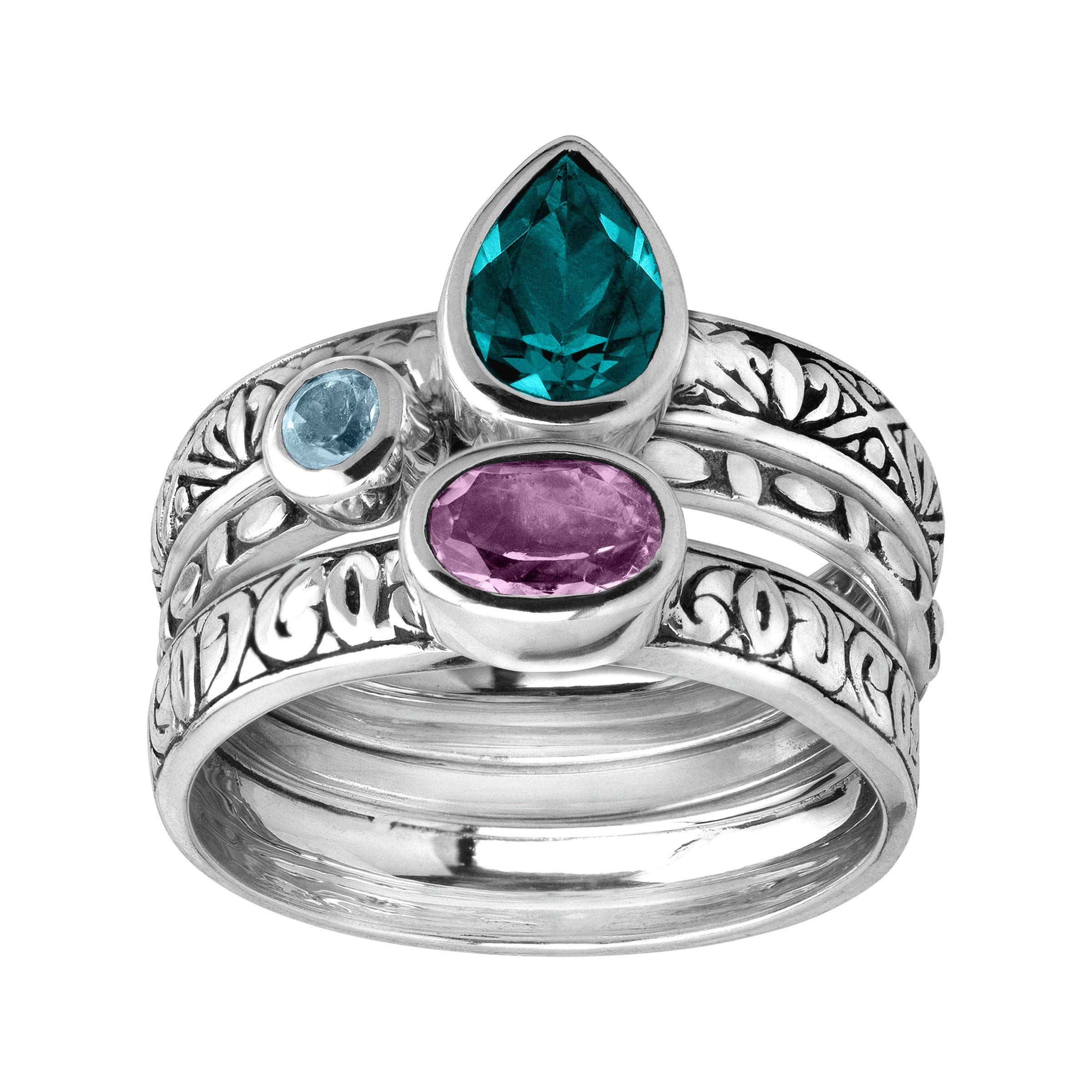 Silpada 'Varsity Hues' Natural Amethyst & Blue Topaz Stacking Rings in Sterling Silver