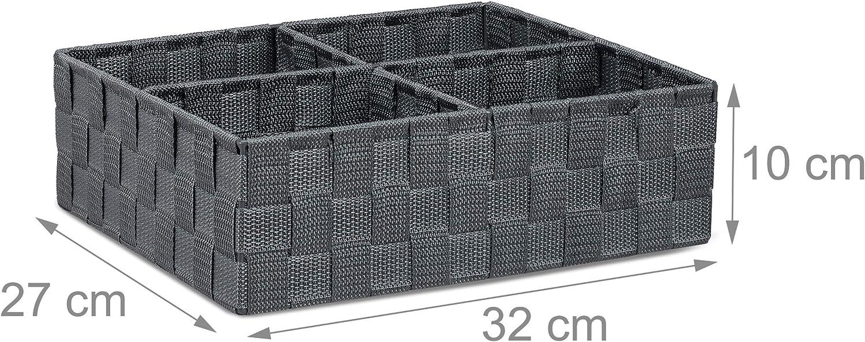 Neceser Organizador Blanco Cuatro Compartimentos 1 Ud Relaxdays Cesta de almacenaje para ba/ño 10x32x27 cm