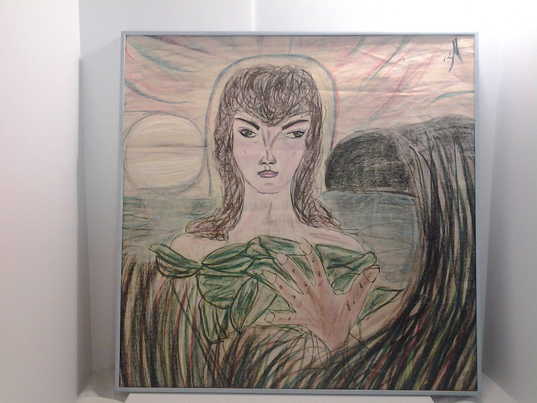Eve oil pastel Beautiful art drawing on paper original artwork by outsider artist Zina Marie by A Quiet Street Gallery