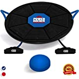 Power Rocker Balance Board - Premium Wobble Board With Adjustable Height - Bonus Resistance Tube Set - Complete Stability & Core Training - Physical Therapy and Injury Rehabilitation