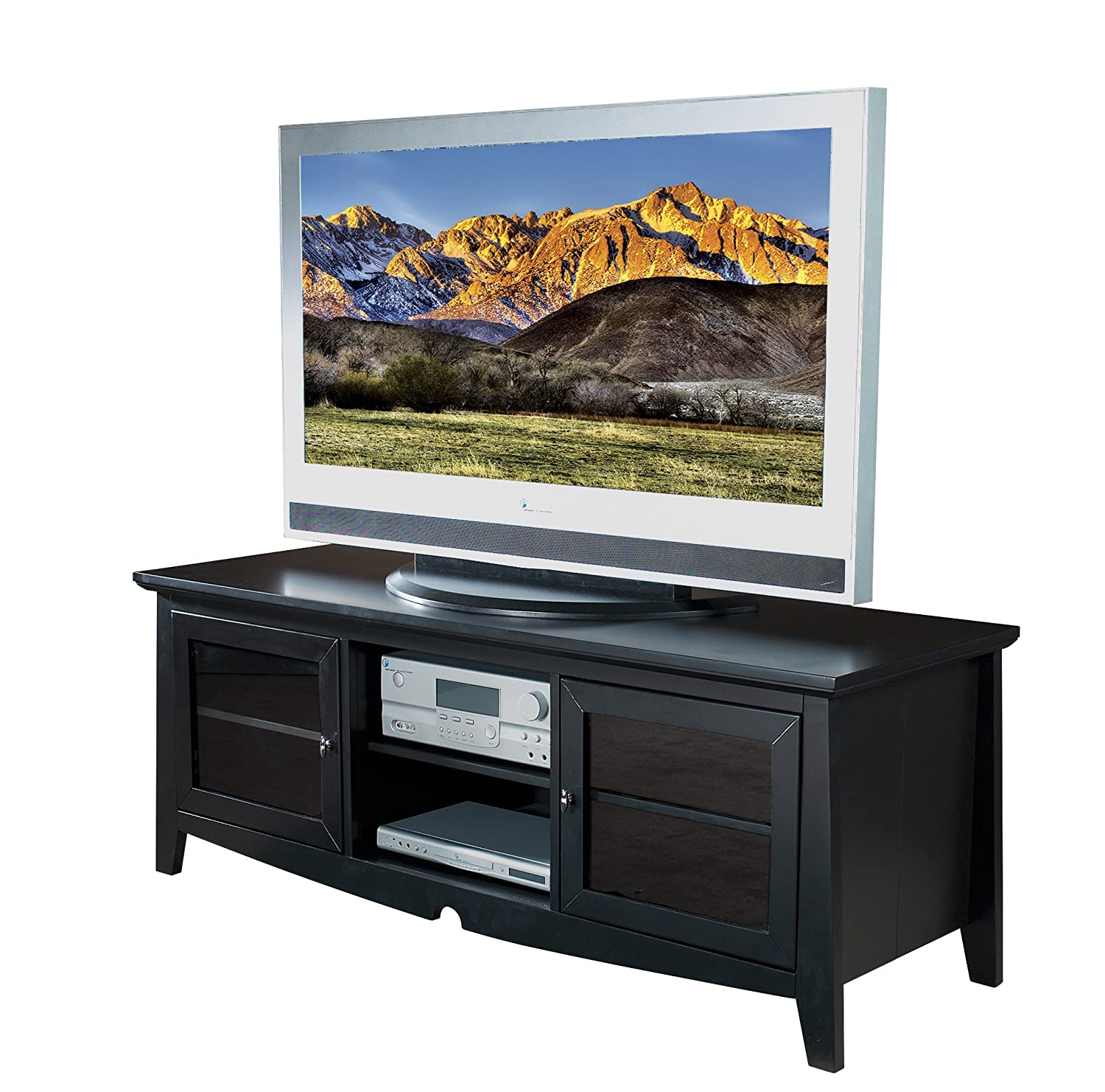 Amazon Com Office Star 60 Inch Solid Wood And Veneer Tv Stand With