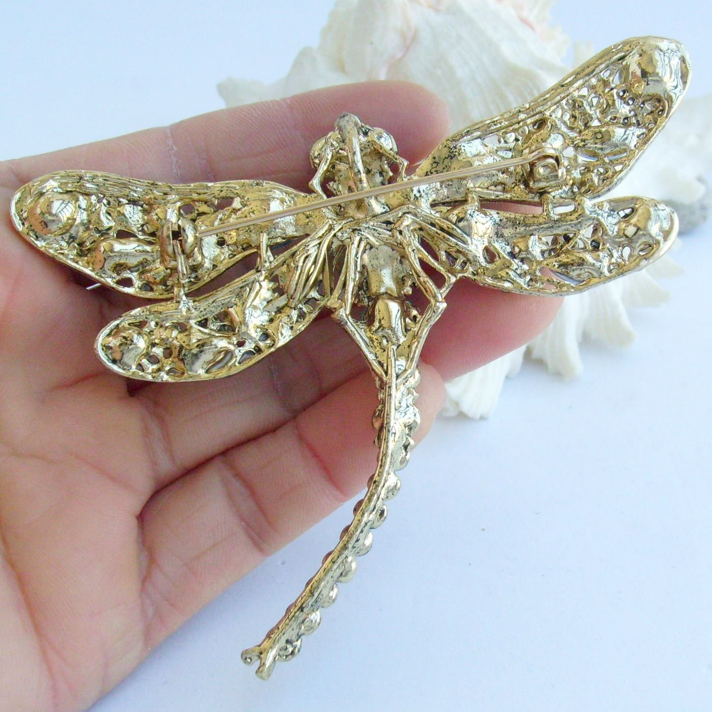 Sindary Elegant 3.74'' Gold-Tone Purple Rhinestone Crystal Dragonfly Brooch Pin Pendant BZ5684 by Animal Brooch-Sindary Jewelry (Image #4)