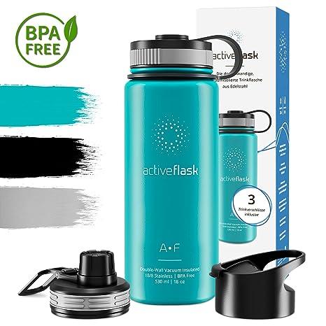Botella térmica ACTIVE FLASK con 3 tapones para oficina, bicicleta, gimnasio | Termo práctico, resistente, seguro | Cantimplora de acero inoxidable ...