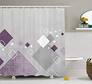 Ambesonne Abstract Shower Curtain, Geometric Composition with Different Colored Squares Striped Dotted Rhombus, Fabric Bathroom Decor Set with Hooks, 70 Inches, Grey Purple White