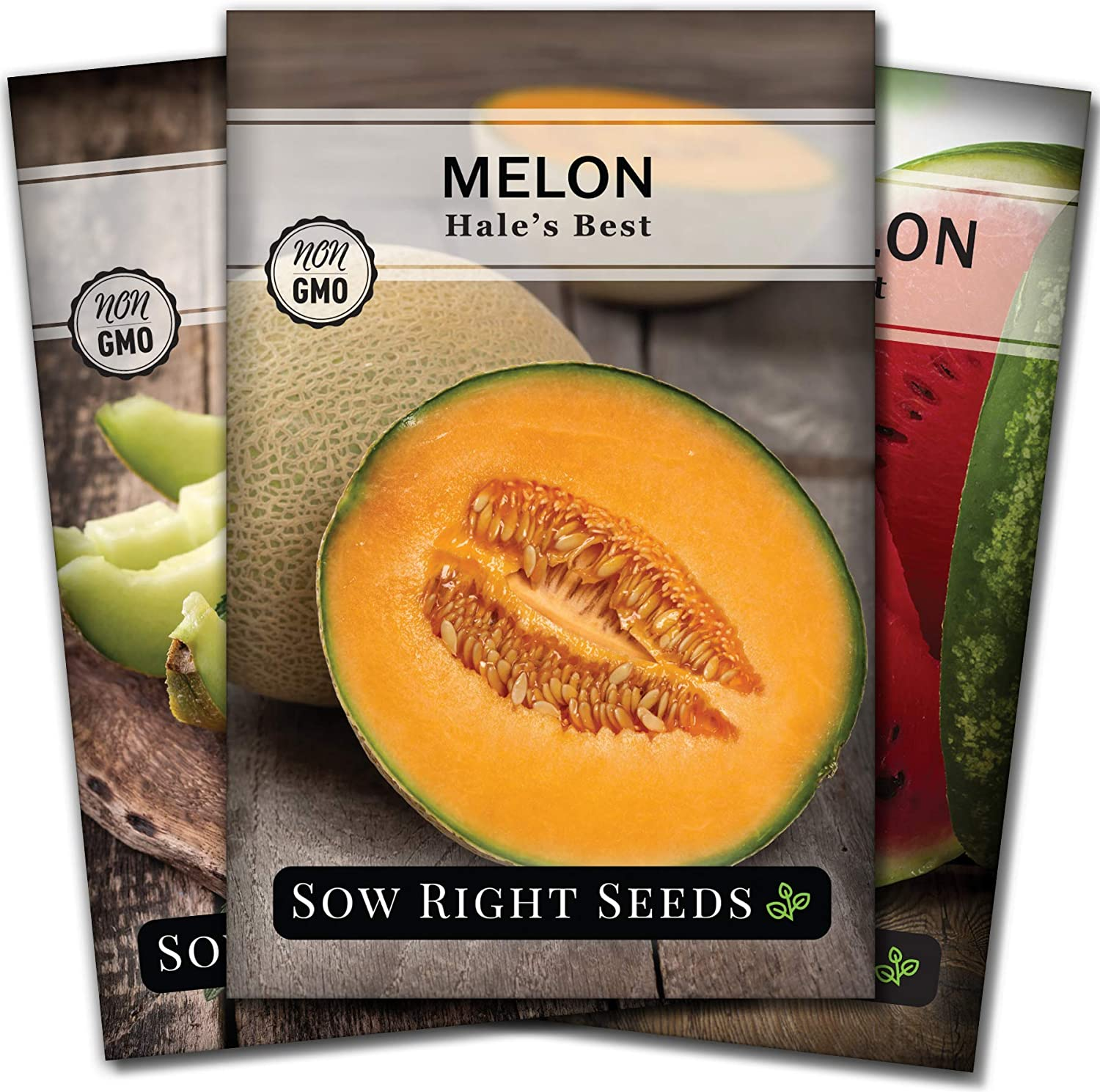 Sow Right Seeds - Melon Seed Collection for Planting - Individual Packets Crimson Sweet Watermelon, Hales Best Cantaloupe and Honeydew, Non-GMO Heirloom Seeds to Plant an Outdoor Home Vegetable Garden