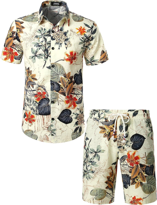 JOGAL Herren Blumen Kurzarm Baumwolle Hawaii Hemd Shorts Sets