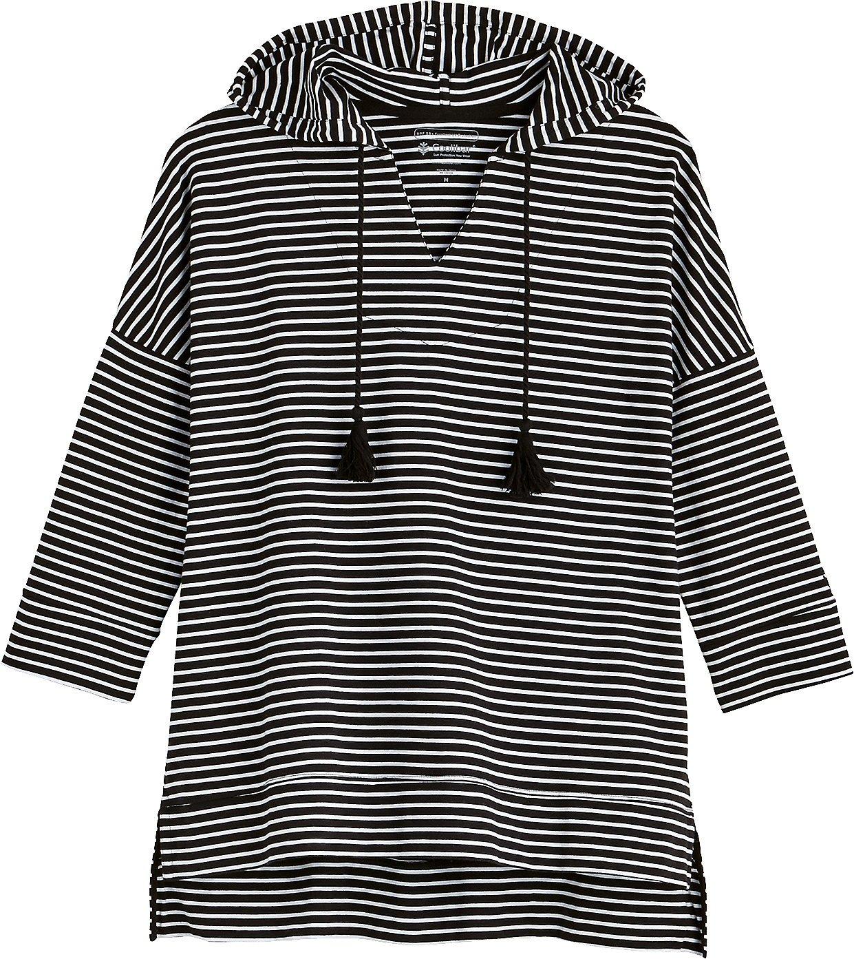 Coolibar UPF 50+ Women's Beach Hoodie - Sun Protective (X-Small- Fine Black/White Stripe) by Coolibar (Image #2)