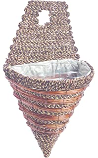 Rattan Hanging Wall Planter Plant Pot Basket Garden Flower Mounted Holder Cone Medium