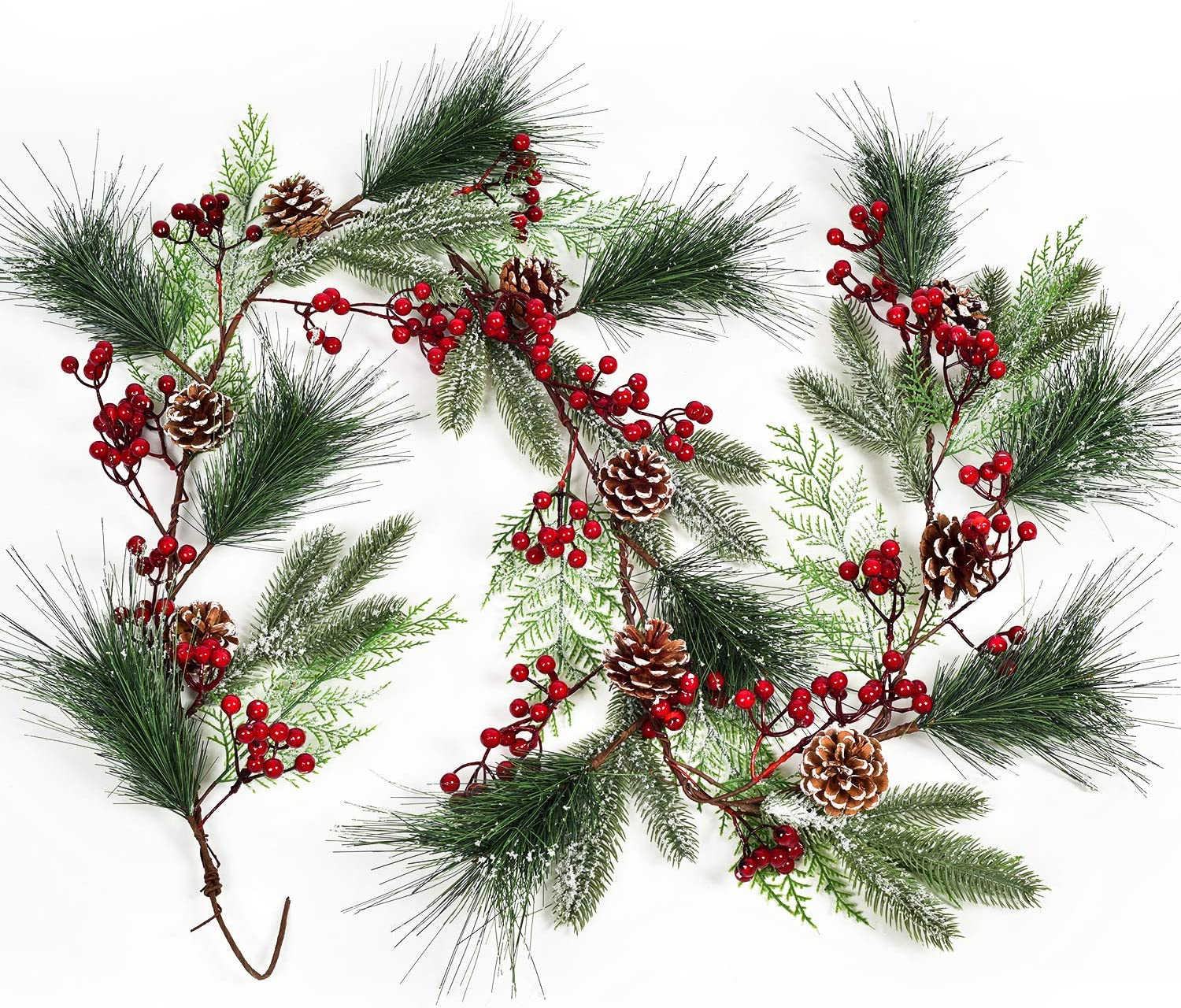 DearHouse 6FT Berry Pine Christmas Garland with Spruce Cypress Berries Pinecones Winter Artificial Greenery Garland for Holiday Season Mantel Fireplace Table Runner Centerpiece New Year Decor