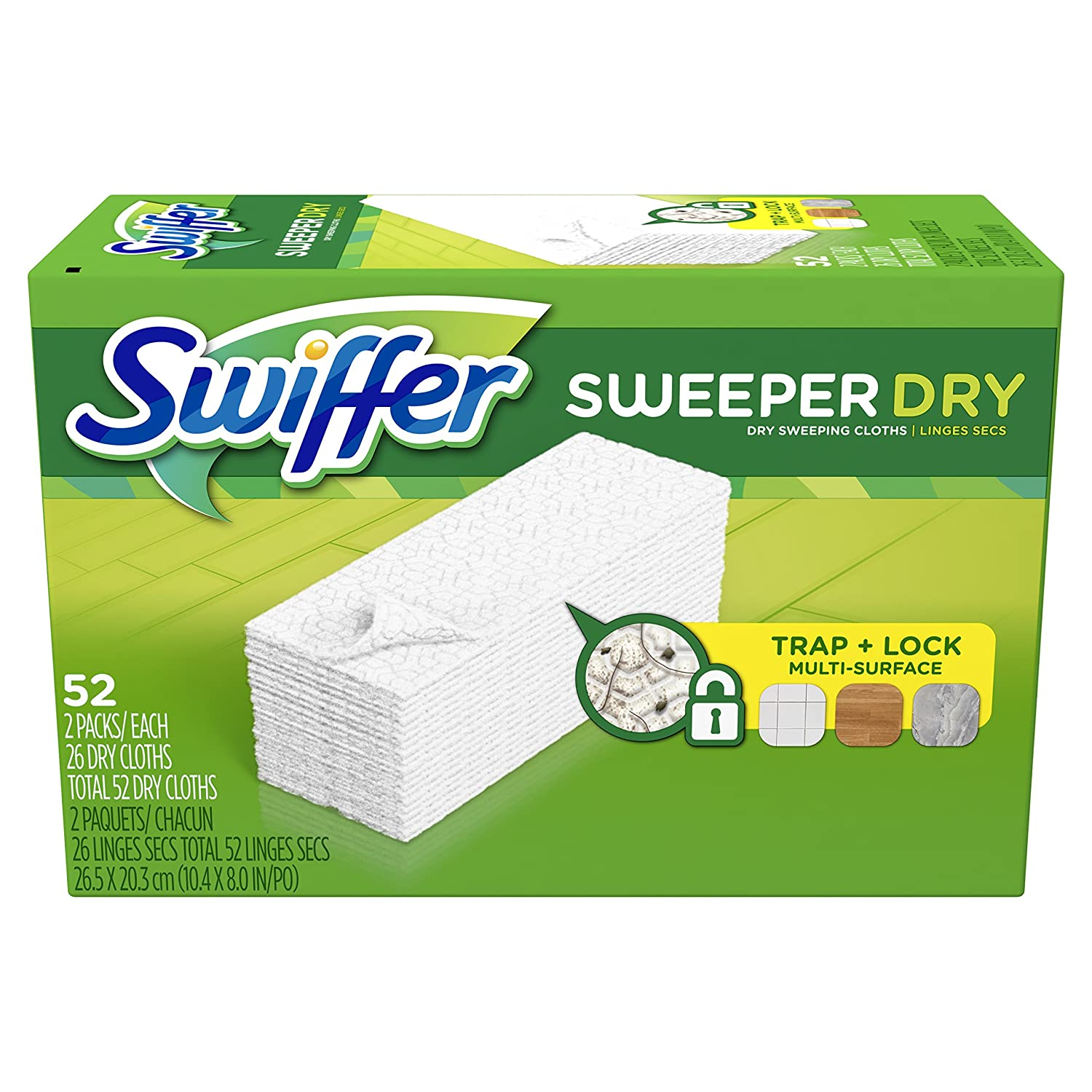 Swiffer Sweeper Dry Sweeping Pad, Multi Surface Refills for Dusters Floor Mop, Unscented, 52 Count 10037000990380