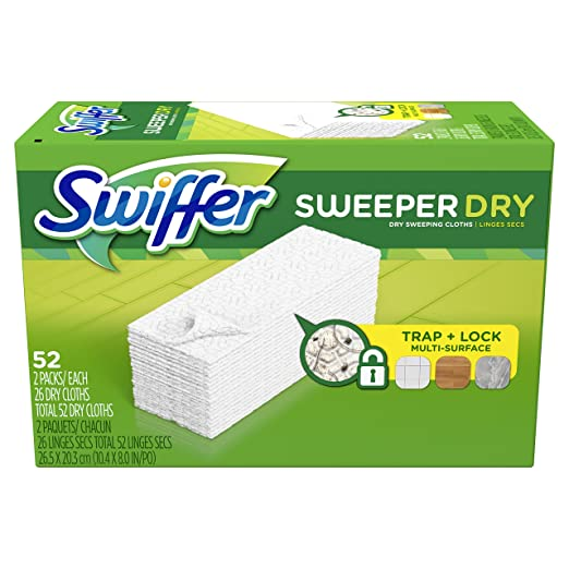 Swiffer Sweeper Dry Sweeping Pad, Multi Surface Refills for Dusters Floor Mop, Unscented, 52 Count