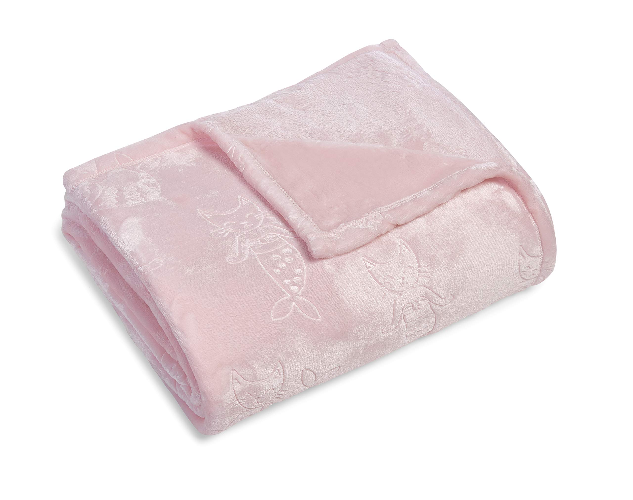 Kute Kids Embossed Velvet Plush Girls Twin Blanket - Available in Mermaid Cats and Unicorn Designs, Colors Include Pink, Aqua, Purple and Grey - Super Soft and Ultra Cozy (Pink Mermaid) by Kute Kids