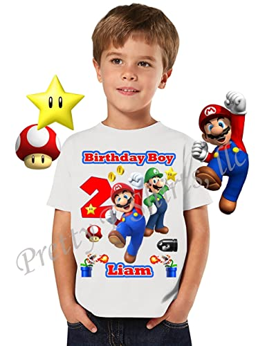 Mario Birthday Shirt ADD Any Name Age Boy FAMILY Matching Shirts Super Luigi