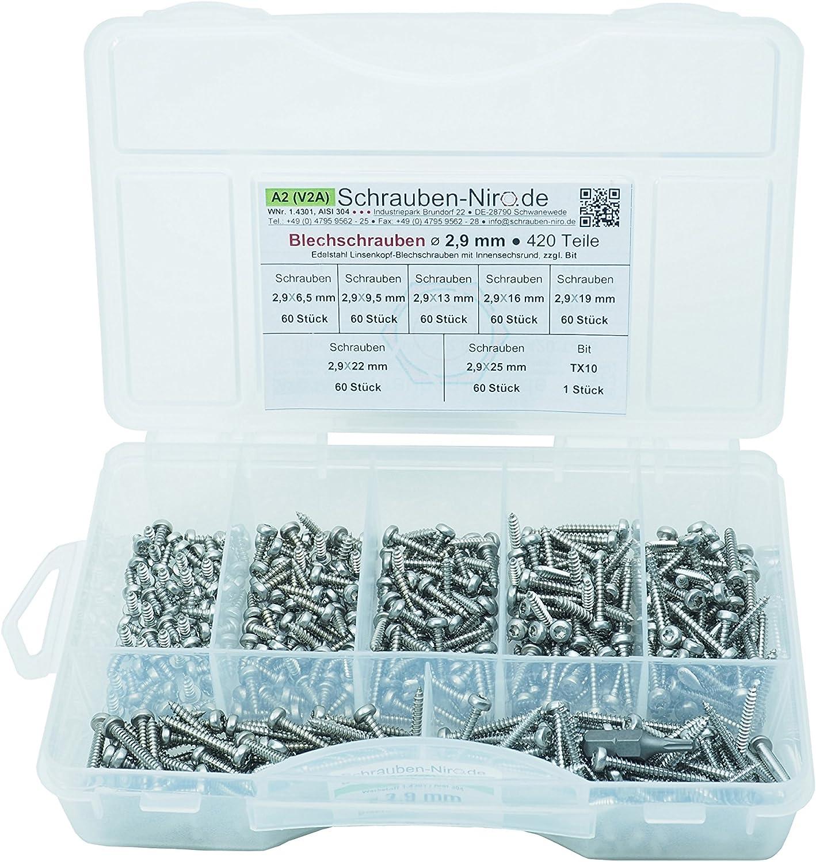 100 Linsenkopf-Blechschrauben Edelstahl 5,5 x 38 mm /• ISO 14585 // DIN 7981 /• Linsenblechschraube mit Innensechsrund T25 /• Werkstoff A2 VA // V2A Torx