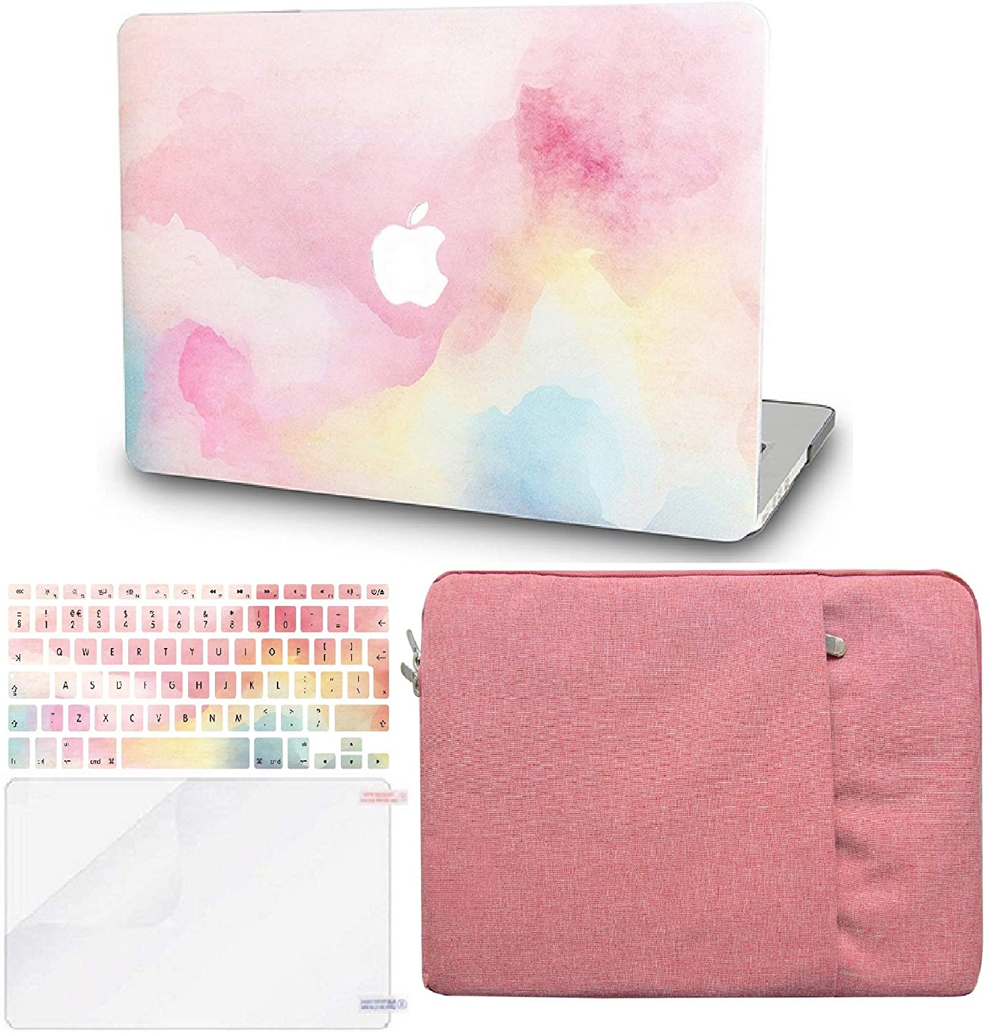 "KECC Laptop Case for MacBook Air 13"" w/Keyboard Cover + Sleeve + Screen Protector (4 in 1 Bundle) Plastic Hard Shell Case A1466/A1369 (Rainbow Mist)"