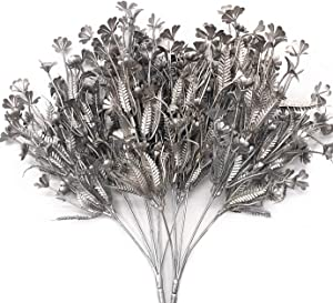 Artificial Plants for Christmas, CATTREE Plastic Grass Faux Shrubs Fake Leaves Simulation Flowers Bushes Home Indoor Outdoor Garden Wedding Festival Decoration Hall Table Planter Filler – Silver 2 Pcs