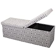 Otto & Ben 45  Storage Folding Toy Box Chest with Smart Lift Top Mid Century Upholstered Ottomans Bench Foot Rest, Moroccan Grey