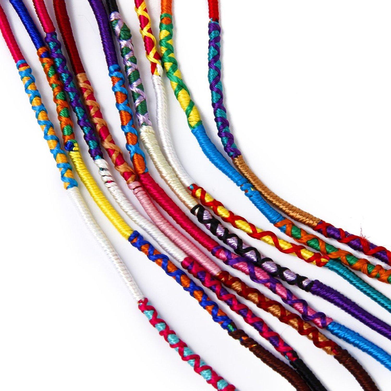 9 coloridas pulseras de la amistad trenzado hilo Hippie R SODIAL