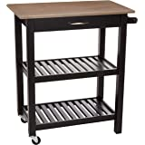 Amazon Basics Multifunction Rolling Kitchen Cart Island with Open Shelves - Reclaimed Grey and Black