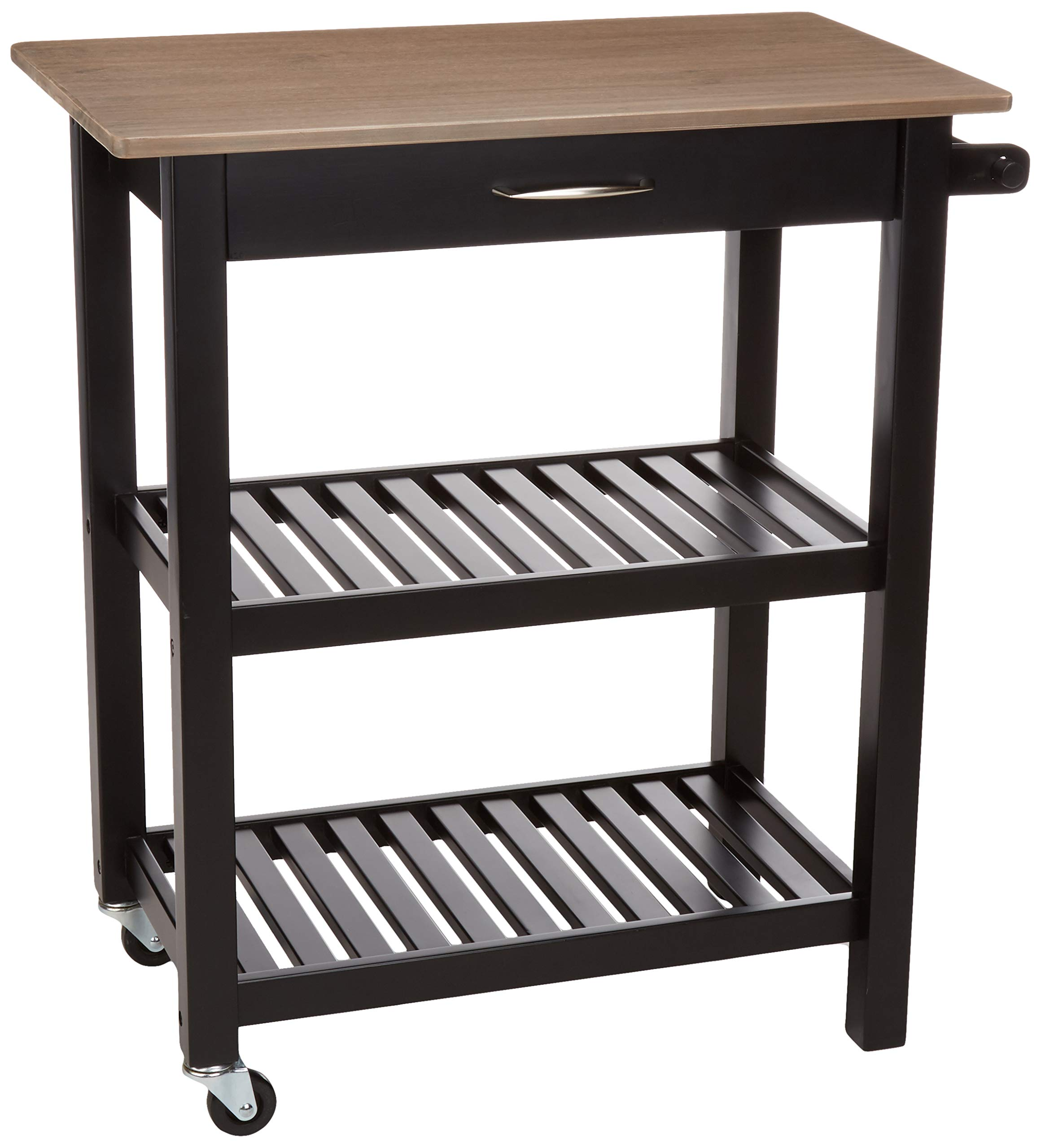AmazonBasics Multifunction Rolling Kitchen Cart Island with Open Shelves - Reclaimed Grey and Black by AmazonBasics